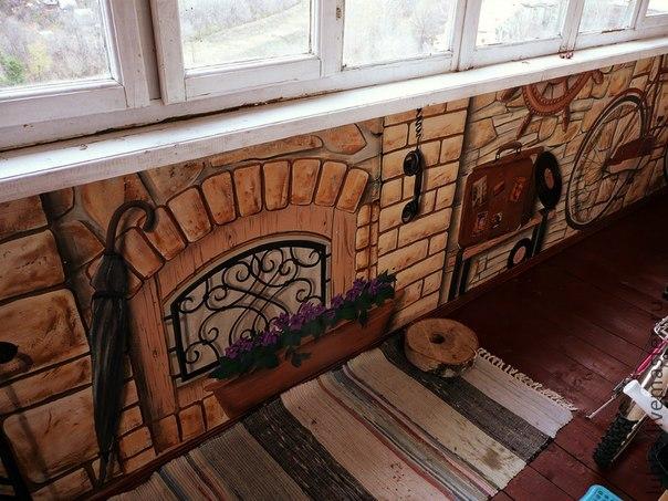 Рисунок на стене своими руками на балконе.